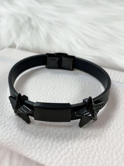 Black Stainless steel Leather Star Trend Bracelet
