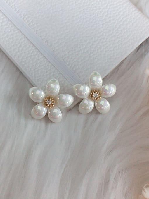 KEVIN Zinc Alloy Imitation Pearl Flower Trend Stud Earring 0