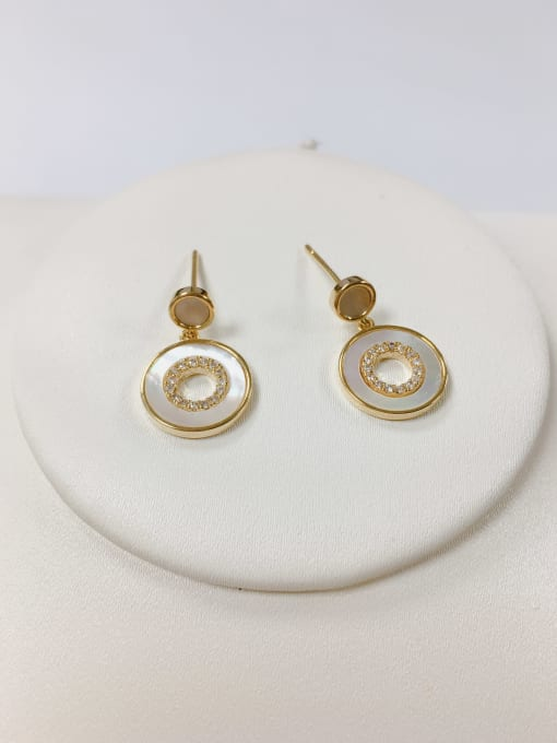 KEVIN Brass Shell Round Dainty Stud Earring