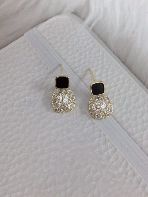 Black Brass Cubic Zirconia Acrylic Square Dainty Stud Earring