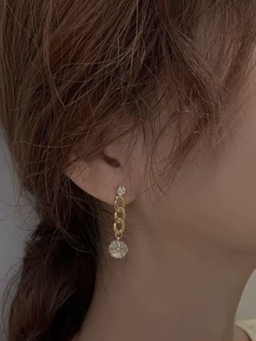 KEVIN Brass Cubic Zirconia Rectangle Trend Drop Earring 2
