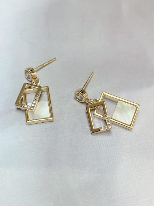 KEVIN Brass Shell Rectangle Trend Drop Earring 1
