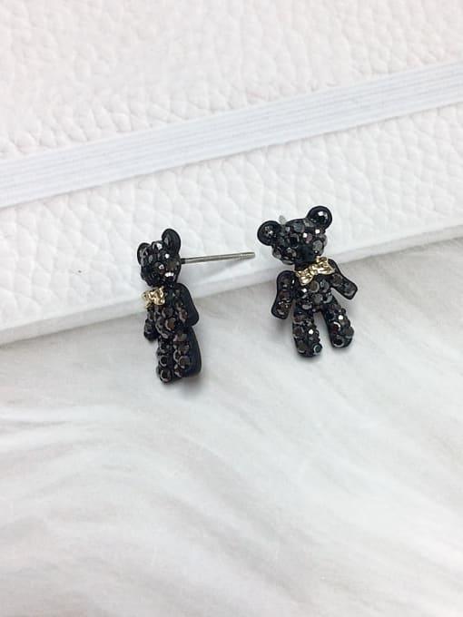 KEVIN Zinc Alloy Rhinestone Bear Dainty Stud Earring 1