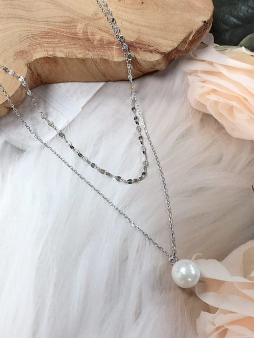 KEVIN 925 Sterling Silver Freshwater Pearl Ball Dainty Initials Necklace 0