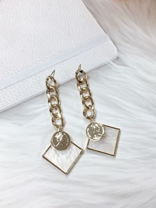 KEVIN Zinc Alloy Acrylic Square Trend Drop Earring 0