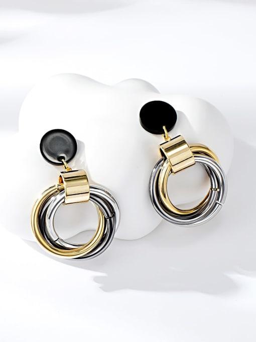 Multi Brass Acrylic Round Trend Drop Earring