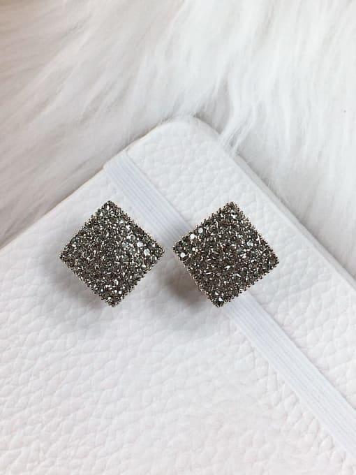 KEVIN Zinc Alloy Rhinestone Square Trend Clip Earring