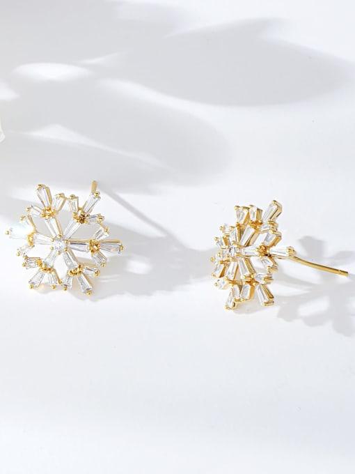 Gold Brass Cubic Zirconia Irregular Dainty Stud Earring
