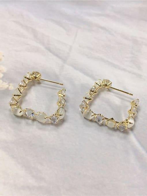KEVIN Brass Cubic Zirconia Irregular Trend Hoop Earring 0