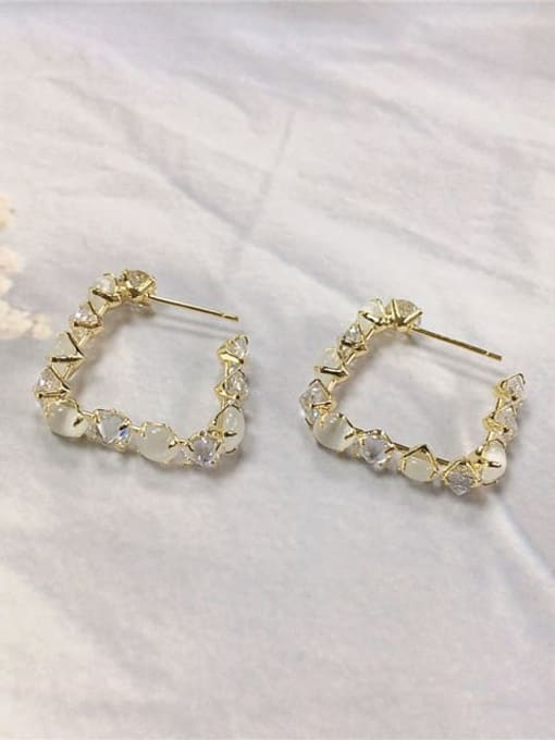 KEVIN Brass Cubic Zirconia Irregular Trend Hoop Earring
