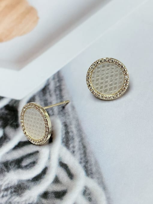 KEVIN Brass Cubic Zirconia Round Minimalist Stud Earring 1
