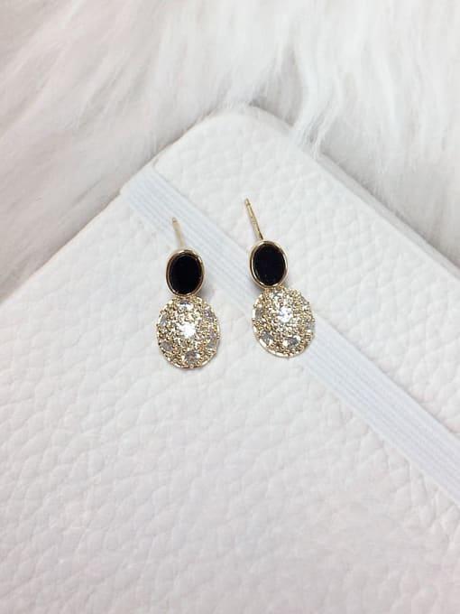 Black Brass Cubic Zirconia Acrylic Oval Dainty Stud Earring