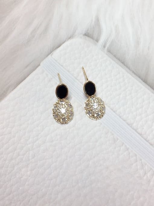 KEVIN Brass Cubic Zirconia Acrylic Oval Dainty Stud Earring