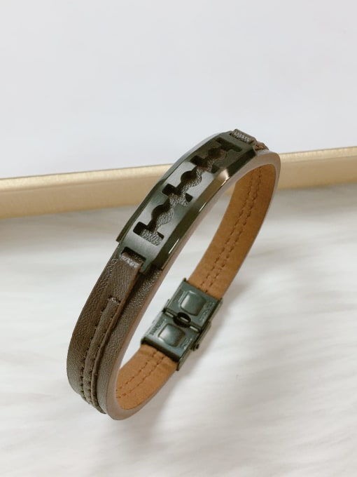 HE-IN Stainless steel Leather Irregular Trend Bracelet 3
