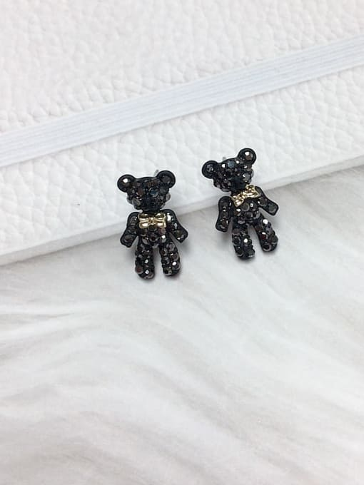 KEVIN Zinc Alloy Rhinestone Bear Dainty Stud Earring 0