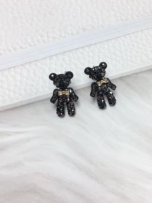 KEVIN Zinc Alloy Rhinestone Bear Dainty Stud Earring