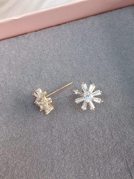 KEVIN Brass Cubic Zirconia Flower Dainty Stud Earring