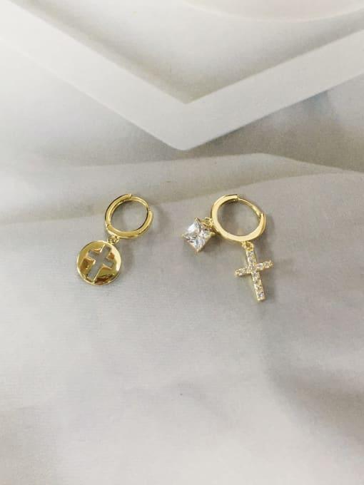 Gold Brass Cubic Zirconia Cross Dainty Huggie Earring
