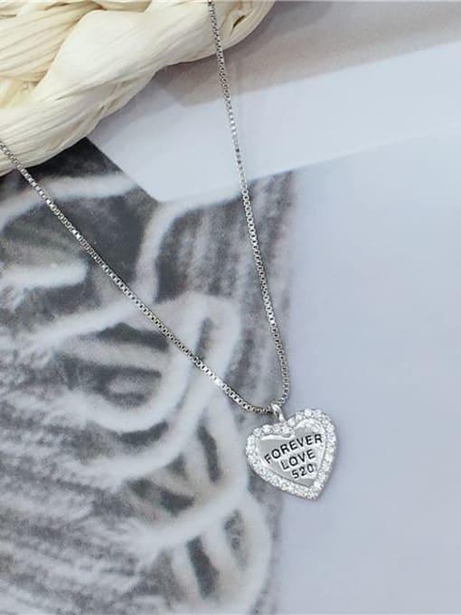 KEVIN 925 Sterling Silver Cubic Zirconia Heart Dainty Locket Necklace