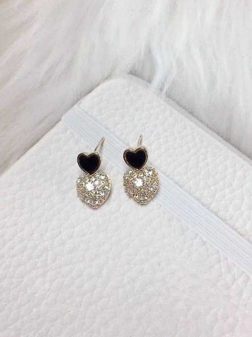 Black Brass Cubic Zirconia Acrylic Heart Dainty Stud Earring