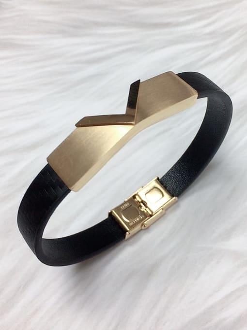 HE-IN Stainless steel Leather Letter Trend Bracelet 5