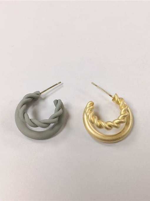 grey Zinc Alloy Enamel Cone Trend Hoop Earring