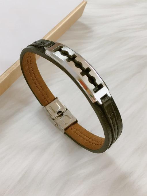 HE-IN Stainless steel Leather Irregular Trend Bracelet 4