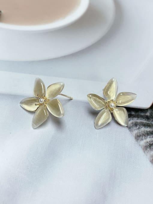 KEVIN Brass Cats Eye Flower Trend Stud Earring 0