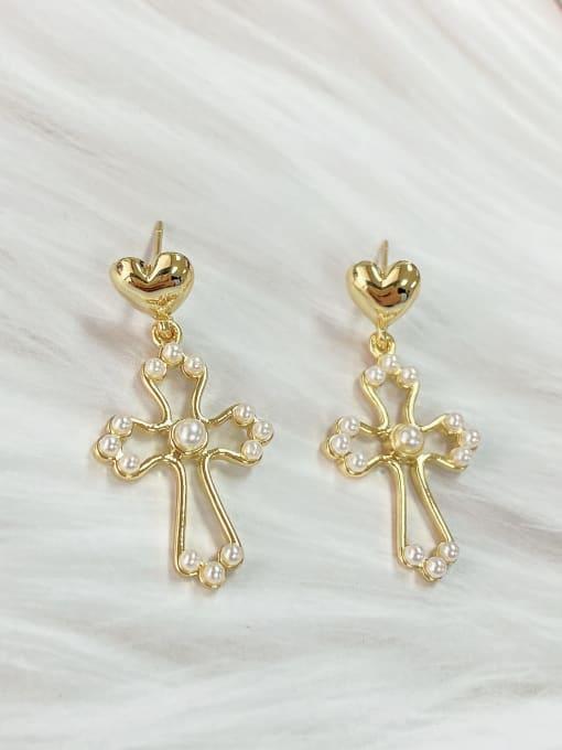KEVIN Brass Imitation Pearl Cross Trend Drop Earring