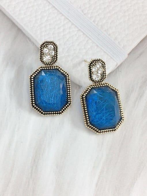 KEVIN Zinc Alloy Glass Stone Rectangle Trend Drop Earring