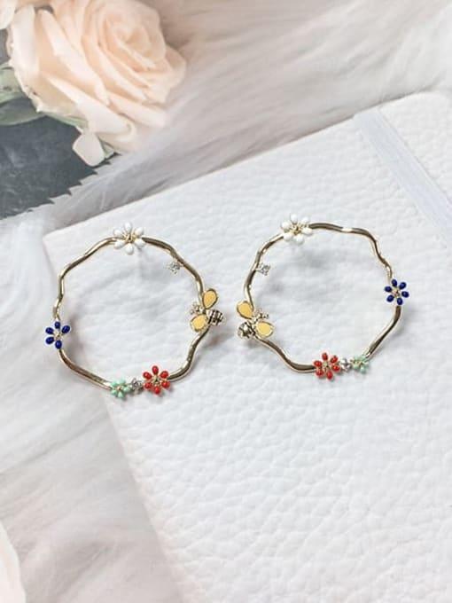 KEVIN Zinc Alloy Rhinestone Enamel Rectangle Trend Stud Earring