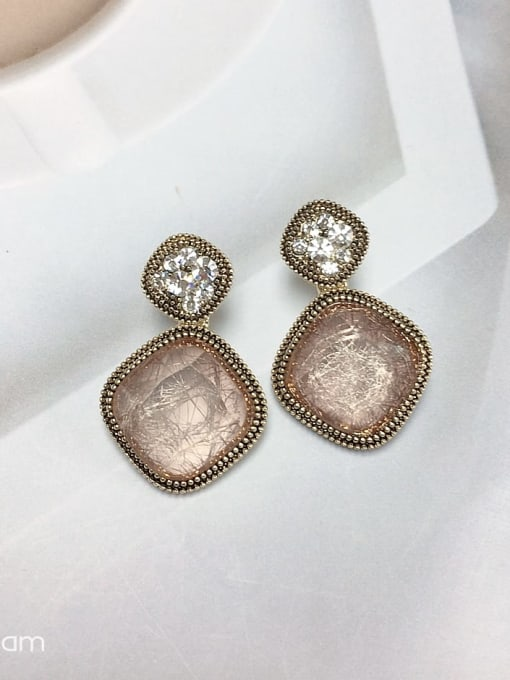 KEVIN Zinc Alloy Glass Stone Square Trend Drop Earring 0