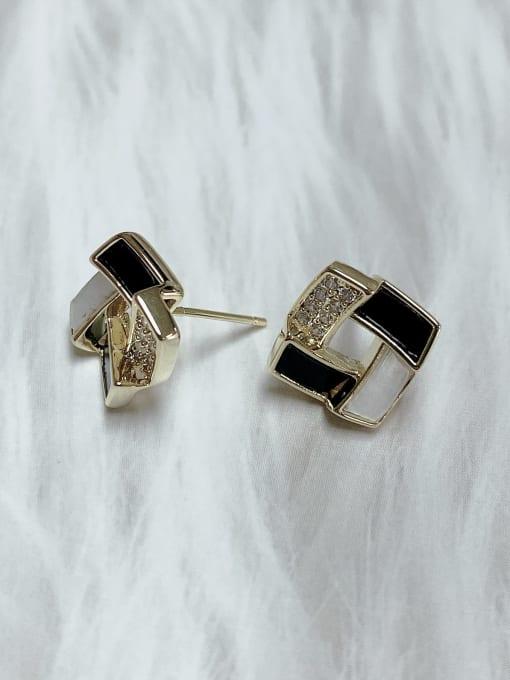 KEVIN Brass Cubic Zirconia Acrylic Irregular Classic Stud Earring 1