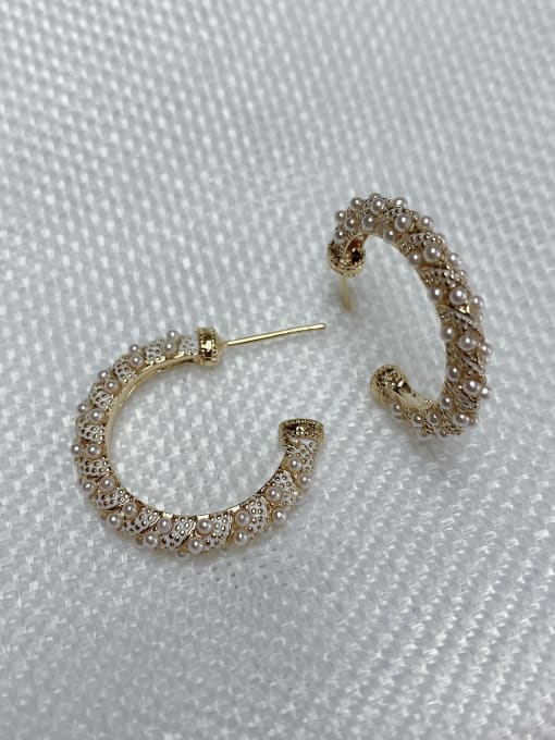 KEVIN Zinc Alloy Imitation Pearl Round Trend Stud Earring