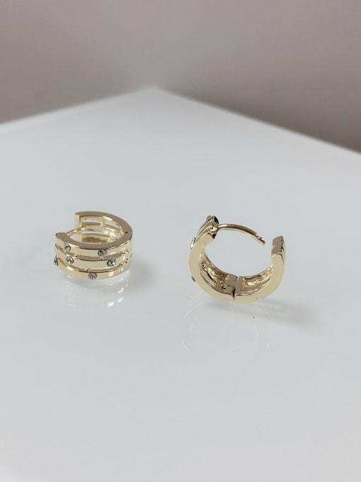 KEVIN Zinc Alloy Rhinestone Irregular Dainty Huggie Earring 1