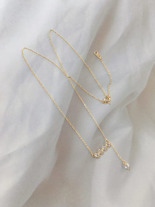 KEVIN 925 Sterling Silver Cubic Zirconia Irregular Dainty Initials Necklace 0