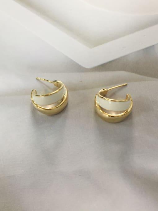 White Zinc Alloy Enamel Irregular Trend Stud Earring