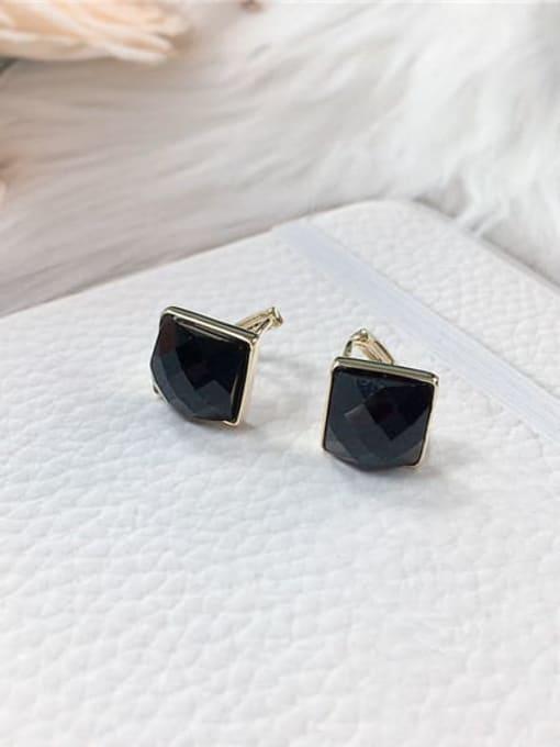 KEVIN Zinc Alloy Glass Stone Square Minimalist Huggie Earring 0