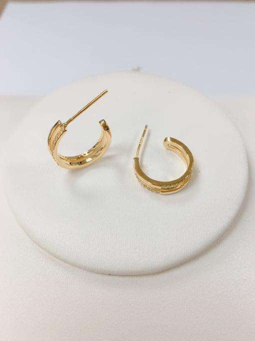 KEVIN Brass Cubic Zirconia Round Minimalist Hoop Earring 0