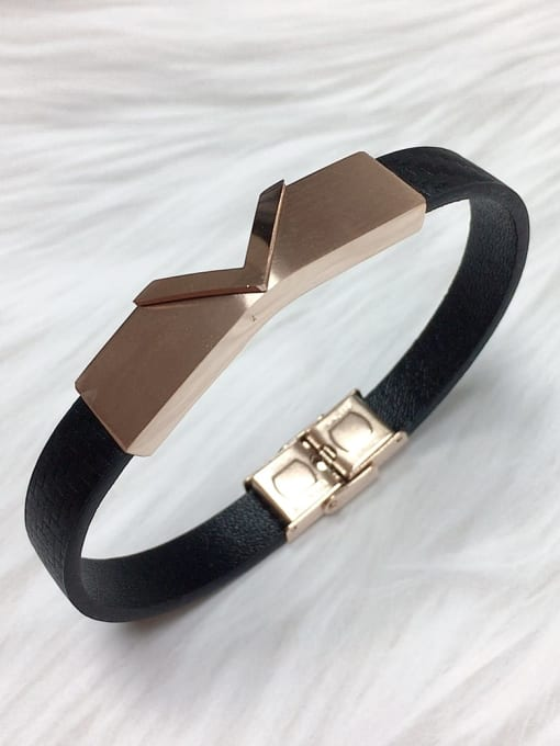 HE-IN Stainless steel Leather Letter Trend Bracelet 1