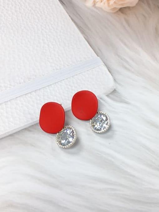 Red Zinc Alloy Cubic Zirconia Enamel Water Drop Trend Drop Earring
