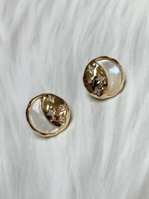 KEVIN Brass Cubic Zirconia Stud Earring