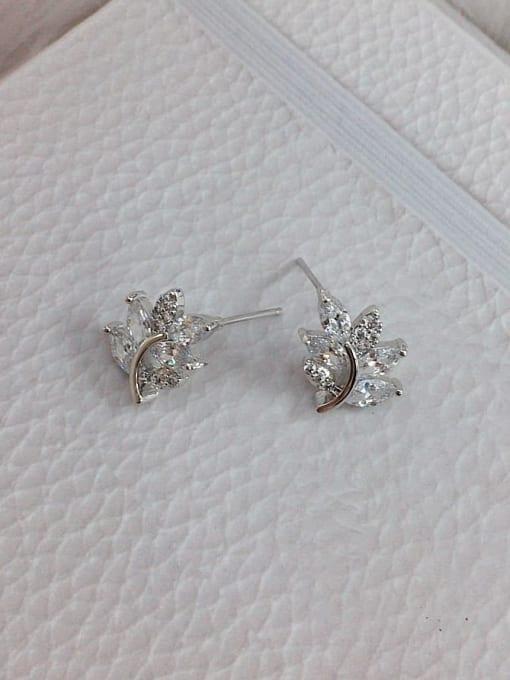 Silver Brass Cubic Zirconia Leaf Dainty Stud Earring