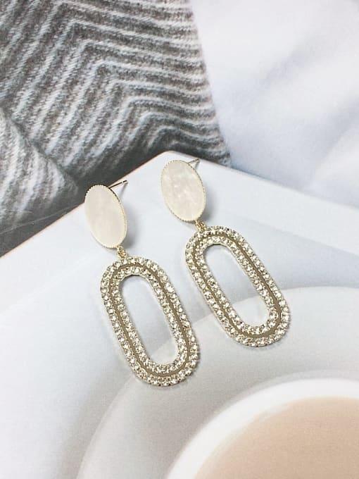 KEVIN Brass Cubic Zirconia Acrylic Oval Trend Drop Earring 0