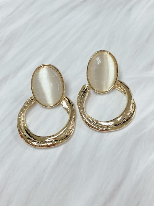 KEVIN Zinc Alloy Cats Eye Oval Classic Drop Earring 0