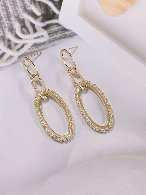 Gold Zinc Alloy Cubic Zirconia Cone Trend Drop Earring