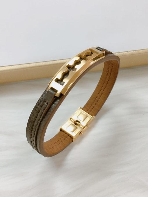 Gold Stainless steel Leather Irregular Trend Bracelet