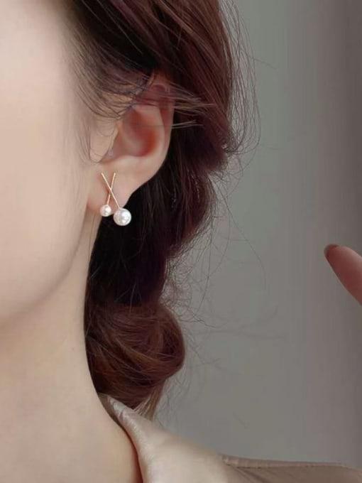 KEVIN Zinc Alloy Imitation Pearl Irregular Minimalist Stud Earring 1