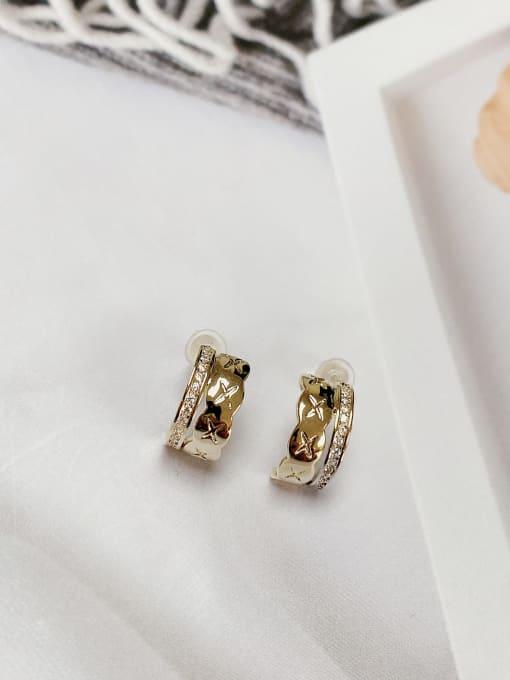 KEVIN Brass Cubic Zirconia Irregular Trend Stud Earring