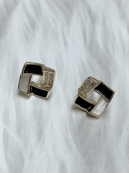 KEVIN Brass Cubic Zirconia Acrylic Irregular Classic Stud Earring 0